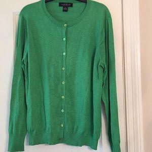 August Silk Emerald Green Cardigan Sz XL
